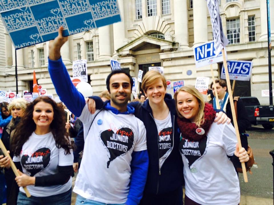 The NH Singers at a protest in London. Photo courtesy: NH Singers