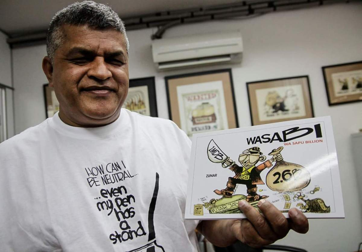 Zunar is facing a 43-year jail sentence after being charged nine times for sedition for tweets and caricatures critical of the Najib government. [Image credit: Zunar]