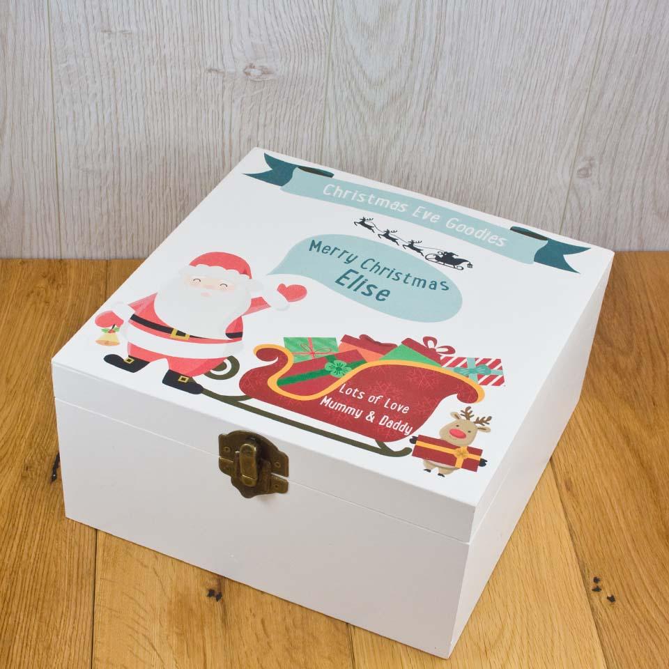 Christmas Eve Box White Printed Santa Design SECONDS