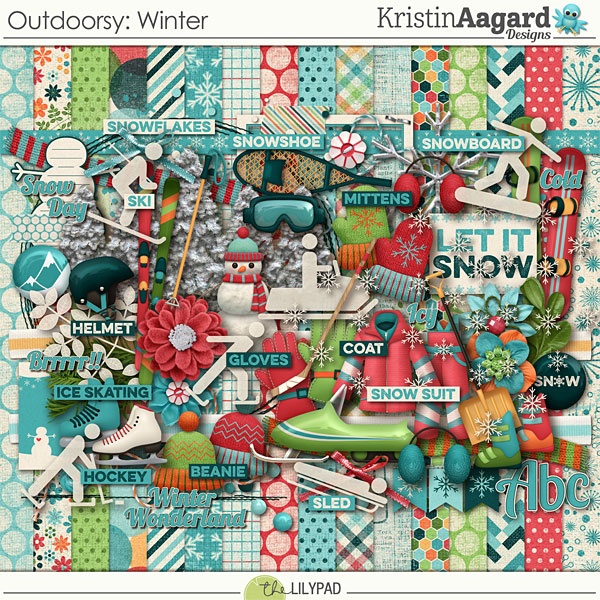 Digital Scrapbook Kit Outdoorsy Winter Kristin Aagard