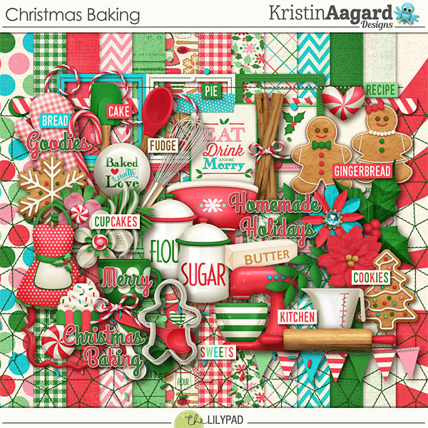Digital Scrapbook Kit Christmas Baking Kristin Aagard