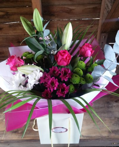 PINK-LILY-PINK-ROSE-HAND-TIED-FLOWER-BOUQUET-THE-LITTLE-FLOWER-SHOP-LONDON-FLORIST-UK-DELIVERY-EXOTIC-LUXURY-FLOWER-BOUQUETS-PLANTS