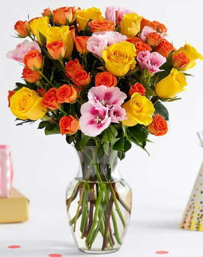 orange and yellow roses with pink godetia-Red-Rose-Roses-purple-flowers purple flowers-the little flower shop-florist-london-flower-shop