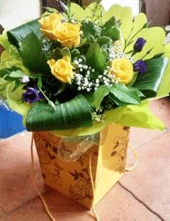 rose-lisianthus hand tied bouquet_purple flowers_yellow roses_aspidistra_order flowers online_send flowers_online florist, florist_bouquet_the_flower shop_flowers_TFS.-min