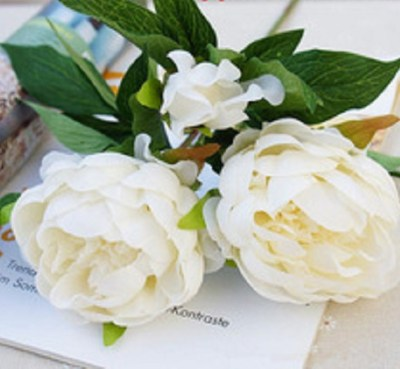 artificial peony, faux flowers-white-peony- 600px