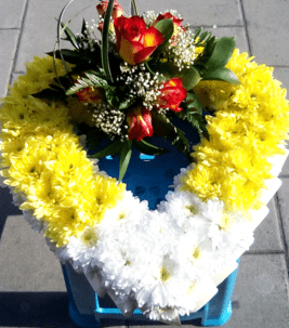 yellow and white open heart funeral wreath with roses funeral wreath - funeral flowers online_flowers online_little flower shop_florist_funeral delivery TFS-min