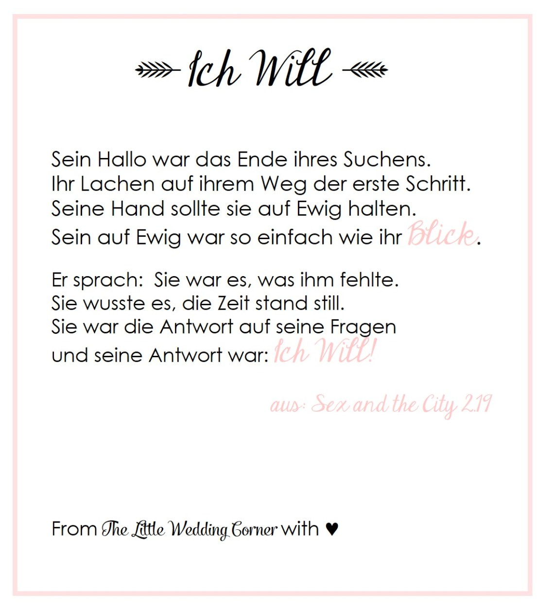 And The City Gedicht Hochzeit
