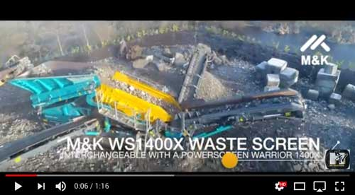 Powerscreen Warrior 1400X with M&K Waste Screen