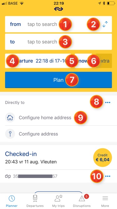 Overview actions on TravelPlanner screen
