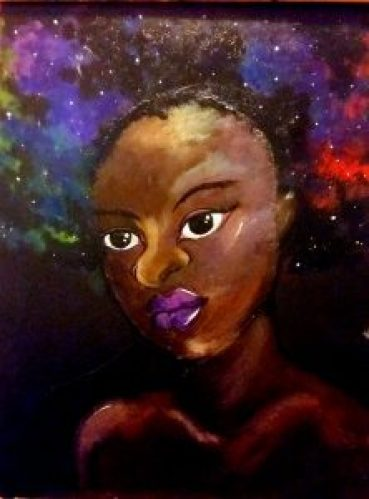 Queen of the Night Painting: Black woman with narual hair made up of nebulae and stars