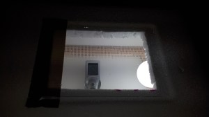 The look through the window of the made incubator with the lightbulb and thermometer in site