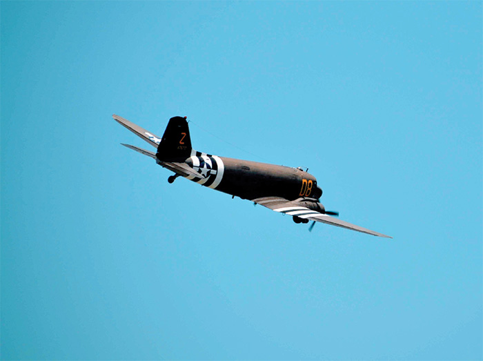 A Douglas C-47 Skytrain in flight. Appropriately named, as the Skytrain was responsible for delivering troops during airborne operations such as Market Garden and D-Day.
