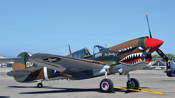 The Curtiss P-40 Warhawk. It was outmatched by the Luftwaffe, but both Britain and the US found secondary uses for it, such as in North Africa and guarding the Panama Canal.