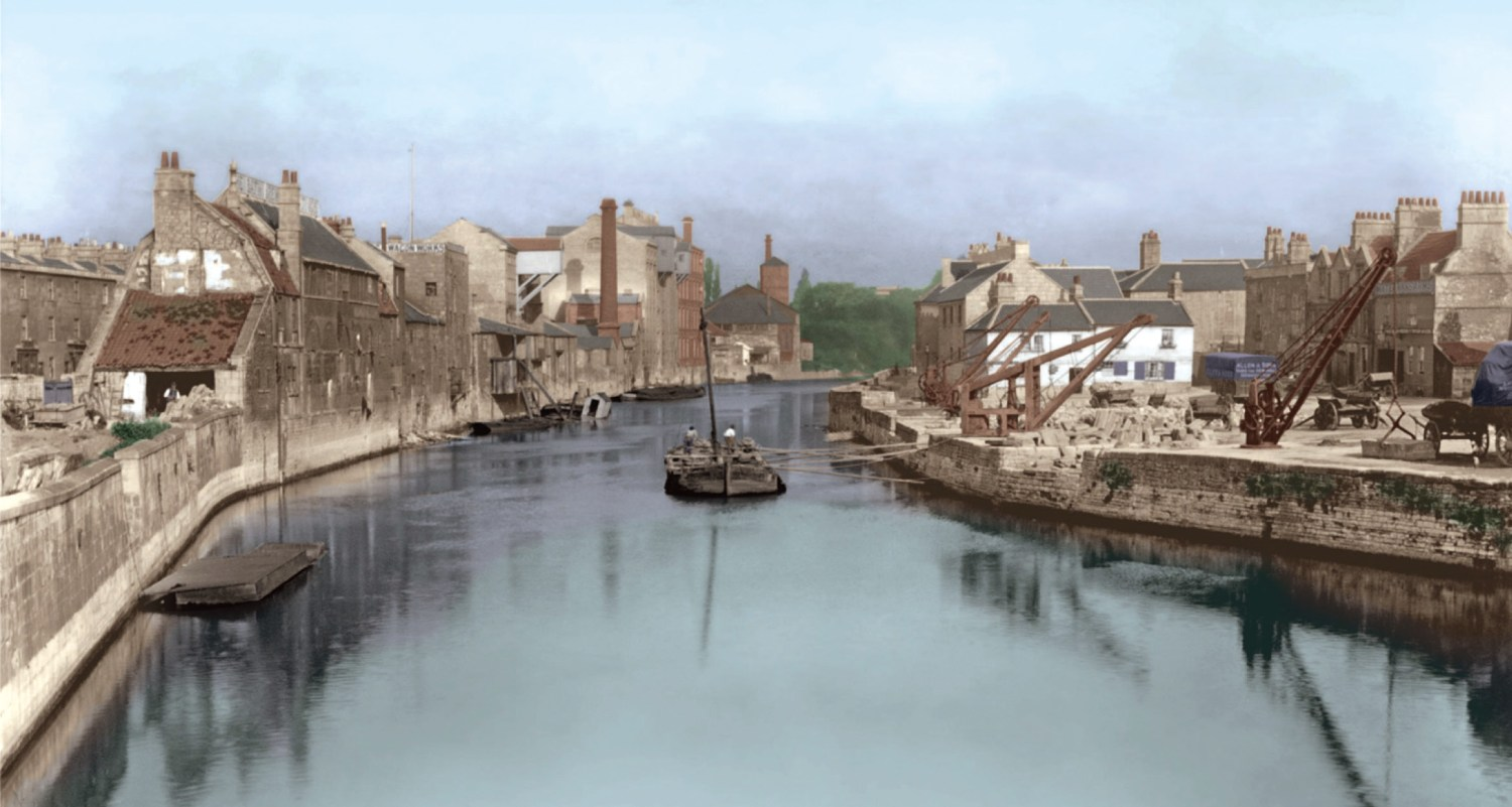 Above View of the River Avon and Broad Quay from the East, taken by George Love Dafnis in 1892 (colourised by Rob Goller).