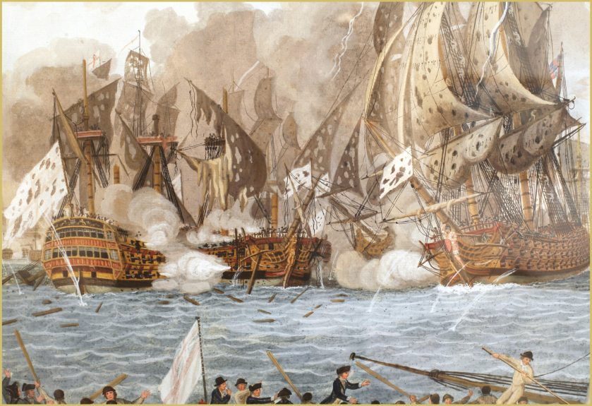 BELOW Admiral George Rodney 'breaks the line' to win a clear-cut victory at the Battle of the Saintes on 12 April 1782.