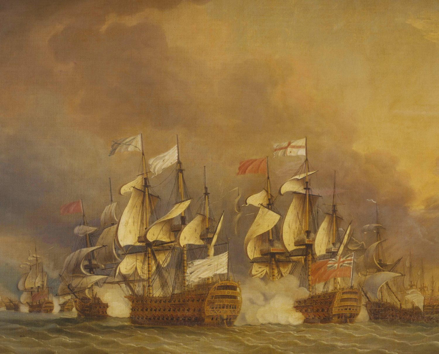 BELOW The Battle of the Saintes, 1782. Detail from a painting by Thomas Mitchell. Admiral George Rodney's tactic of 'breaking the line' may have been accidental, but it was hailed at the time as a stroke of genius.