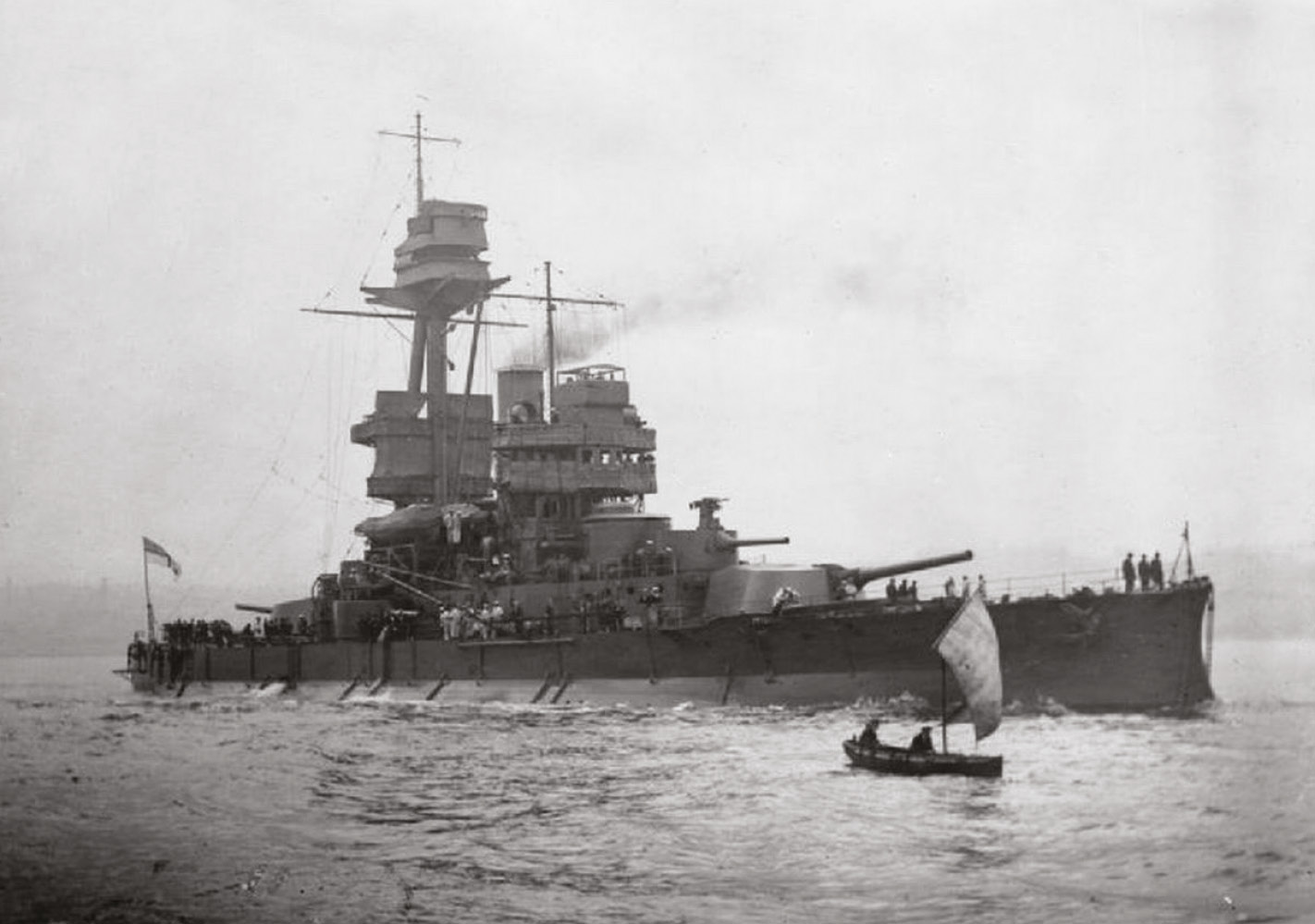 Above HMS Glatton in 1918. After a fire on board, inspectors made a shocking discovery about her magazine's insulation.