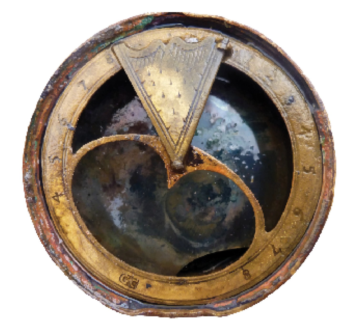 right The wreck of the London is a 17th-century time capsule, preserving a wealth of artefacts illuminating maritime life aboard the ill-fated warship among them, this sun dial.