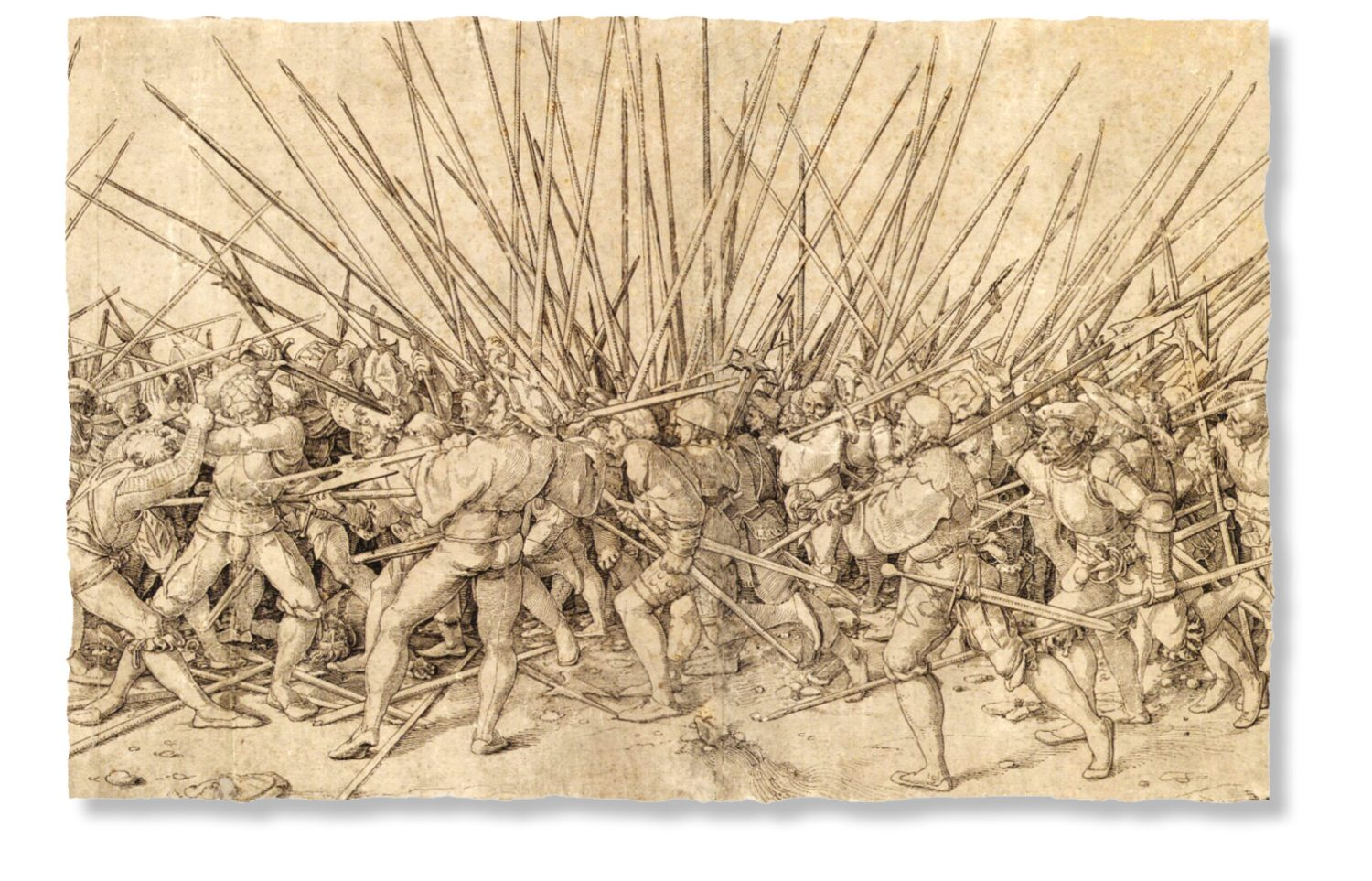 below Hans Holbein the Younger's depiction of Swiss pikemen fighting German landsknechts in the early 16th century.
