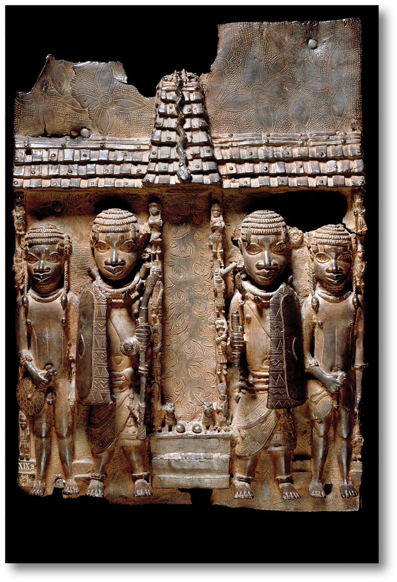 left A Benin brass plaque (16th-17th century) showing Benin court officials flanking a palace entrance or altar.
