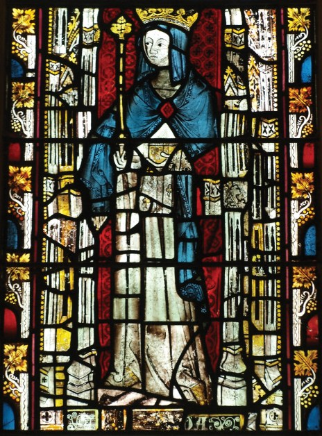 OPPOSITE Though older glass lacks the transparency of modern float glass, the size and shape of the panes, the variation in colour, and the ripples in the glass all add to a building's personality, as here at King's Manor, York. LEFT Early glass in England is found in medieval buildings especially churches, where small pieces of irregularly shaped coloured glass were painted and held together by lead strips to form pictorial scenes. Most of the glass used in England was imported from the near Continent or made from recycling older glass (including, until the 13th century, ancient Roman glass imported from the Mediterranean). This early 14th-century glass in Christ Church Cathedral, Oxford, depicts St Hild (or Hilda) c.AD 614-680, founder of Whitby Abbey.