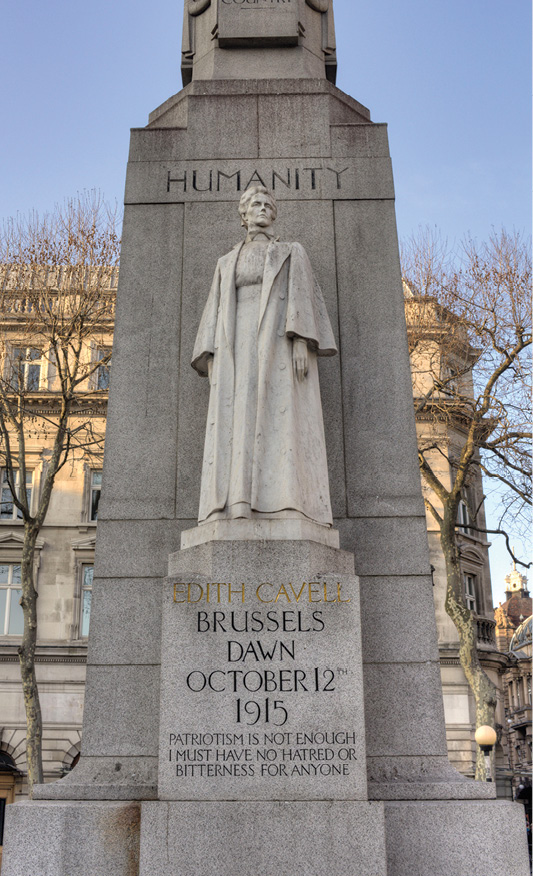 LEFT The memorial for Edith Cavell in St Martin's Place, just north-east of Trafalgar Square. Sherds proposes that we erect more statues that honour people who represent the virtues we admire and wish to emulate.