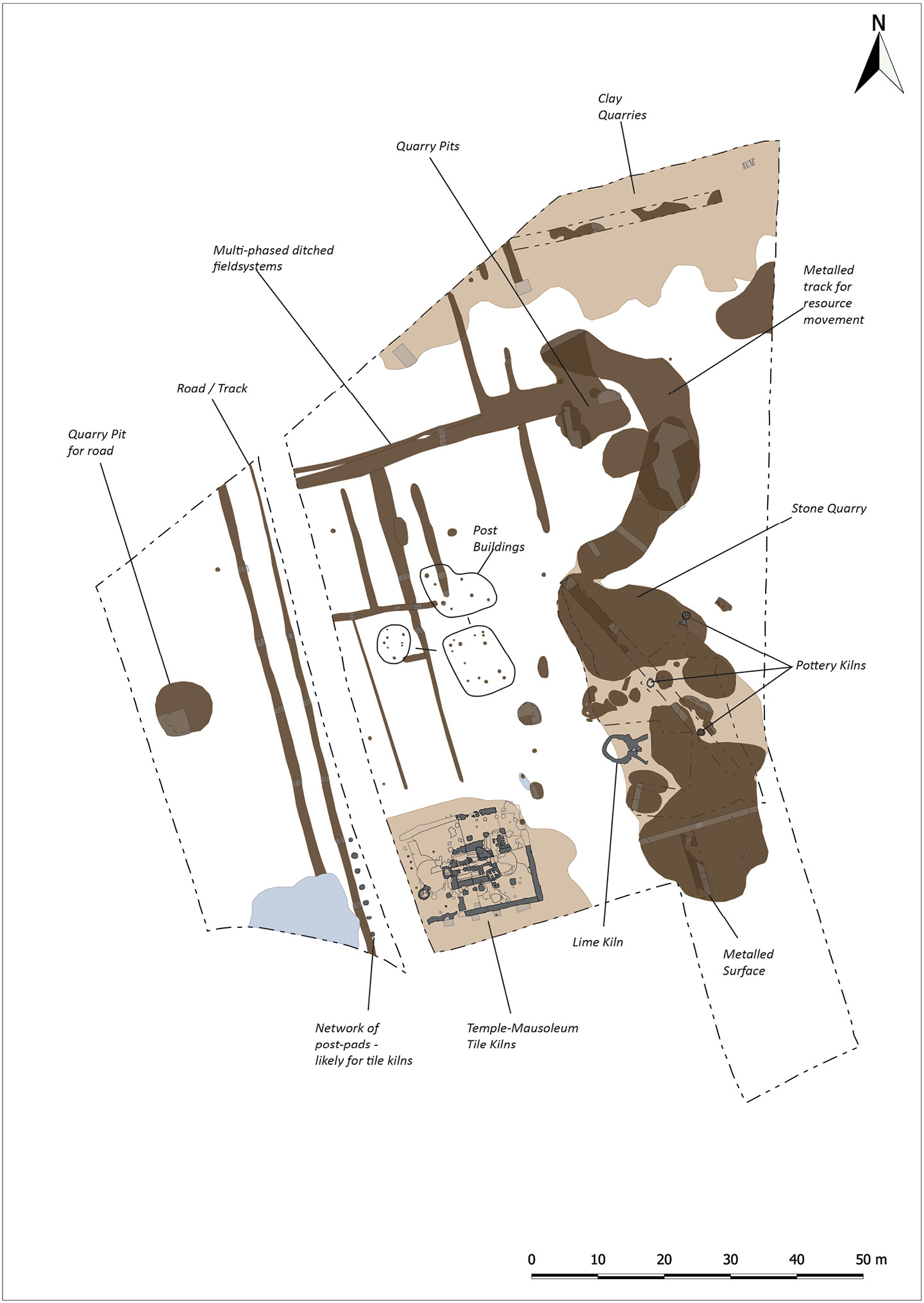 This site plan shows the key features recorded during OA East's investigations.