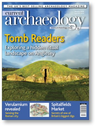 right The Neolithic site of Bryn Celli Ddu in Anglesey, featuring one of the best-preserved passage tombs in Wales, made the cover of CA 310.