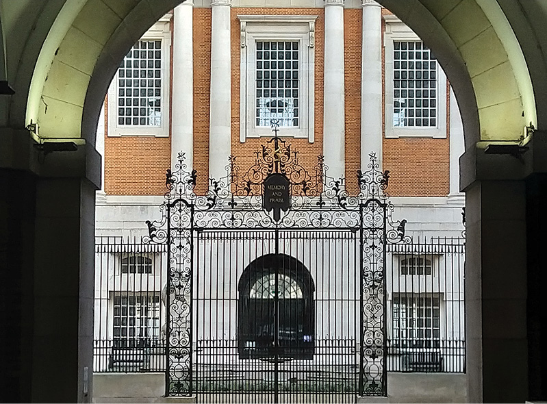 Lutyens' versatility and playful inventiveness is evident in the keystone of a building he designed in 1906 at 42 Kingsway, London, for the offices of William Robinson's magazine The Garden (Below LEFT); the Theosophical Society headquarters and wrought-iron gates of 1911 on Burton Street, now incorporated into the London headquarters of the British Medical Association (LEFT); and the entrance to the YWCA building of 1928, on Great Russell Street, a residential club and concert hall built 'to house young working women in London safely and comfortably' (Far LEFT). The Lutyens Trust was founded on 20 December 1984 following the success of the Arts Council exhibition devoted to the work of Edwin Lutyens held at the Hayward Gallery in 1981. It is now a vibrant community of more than 540 members.