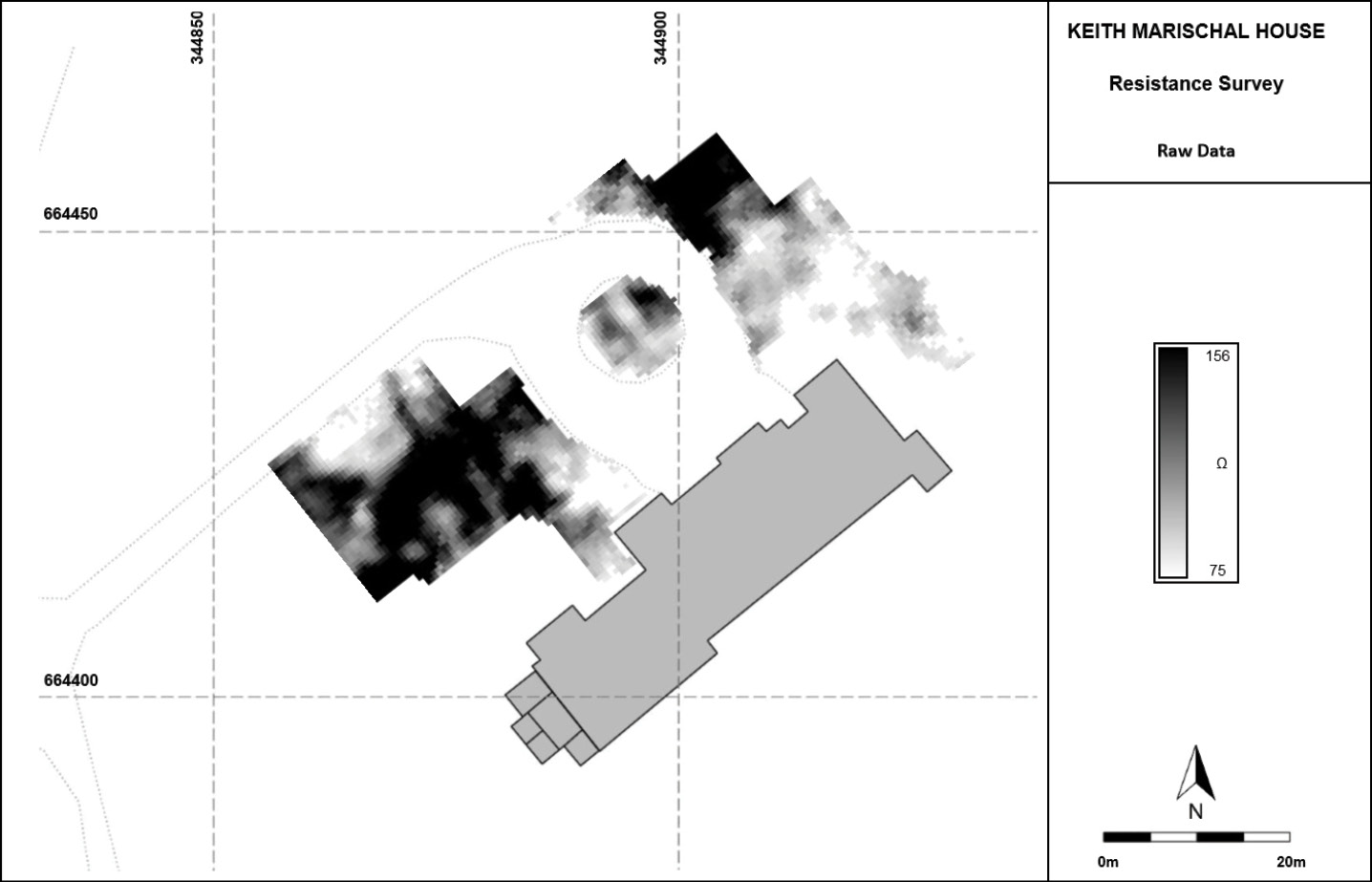 LEFT These images show the results of a recent resistivity survey at Keith Marischal. It identified a number of areas of possible archaeology, and, even though a clear floorplan could not be seen, features that merit further investigation were highlighted particularly a large rectangular feature to the north, which might represent the foundation of the lost medieval tower.