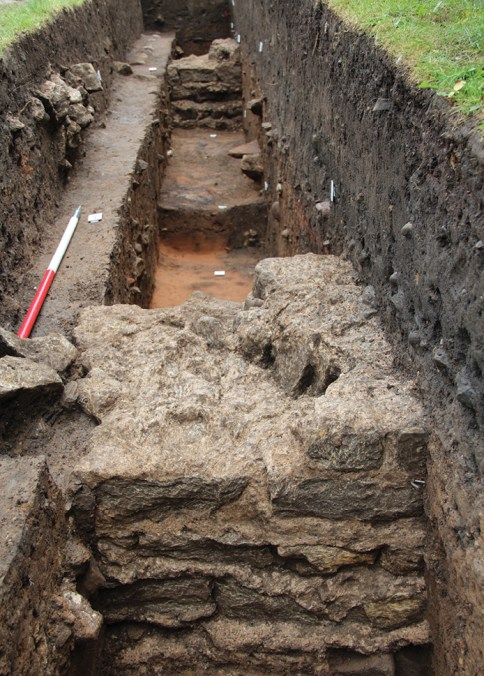 BELOW Parts of the forum foundations were re-excavated in 2017, as part of the Aldborough Roman Town Project. Unusually, it appears to have been built in stone from the beginning.