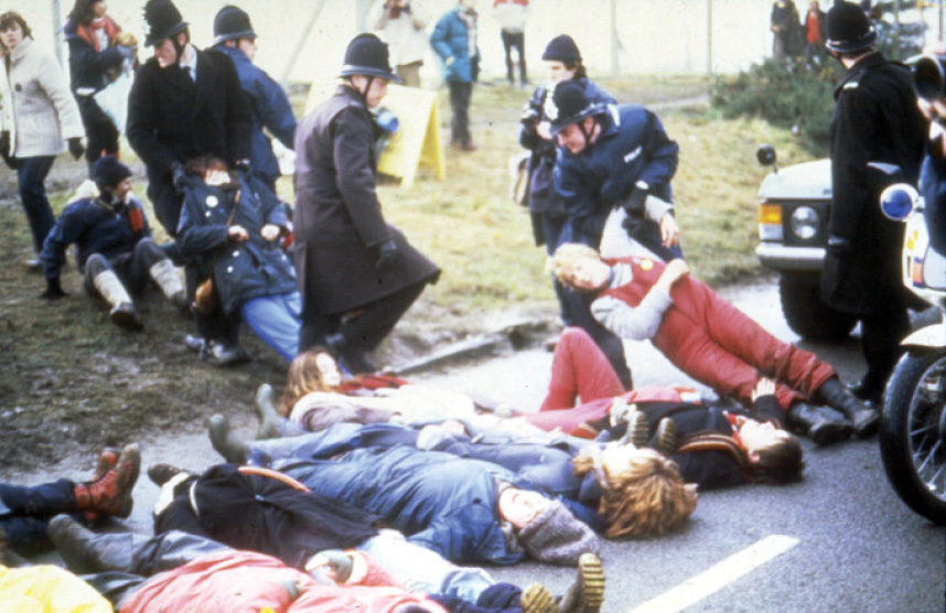 LEFT & ABOVE Greenham Common, Berkshire, housed a massive Cold War bunker complex and, in the 1980s, became home to a Women's Peace Camp. There, protestors took part in passive civil disobedience, which proved an effective way to bring stations to a complete standstill.