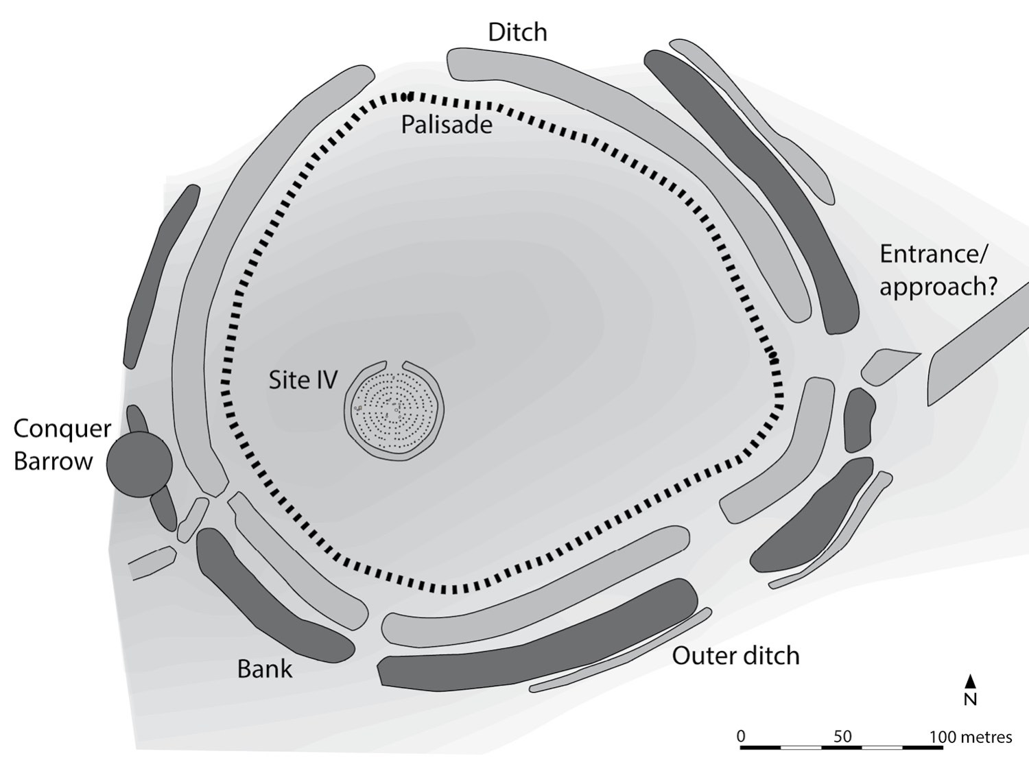 left This plan shows the known details of the palisaded enclosure, including patterns of whether particular sections had been burned, removed, or left to decay.