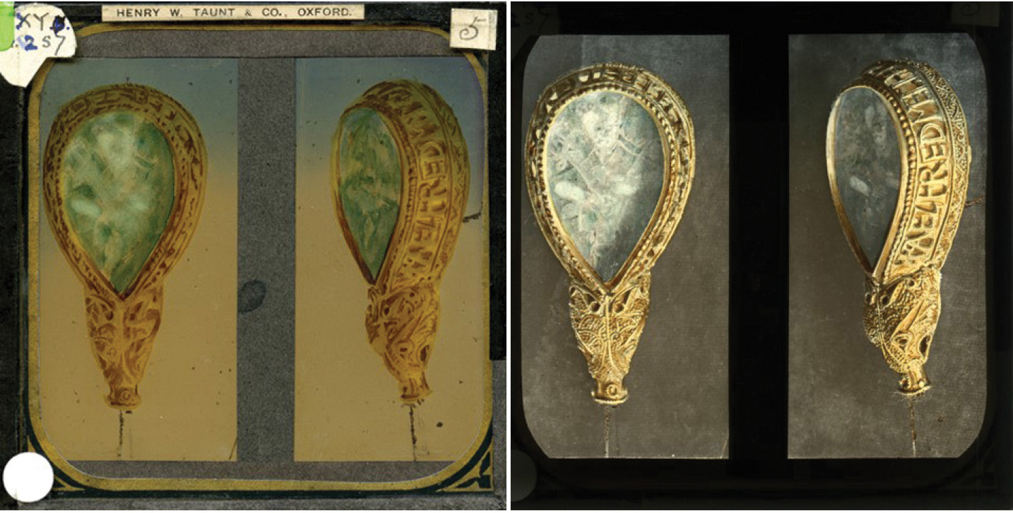 below A lantern slide of the Ashmolean Museum's Anglo-Saxon 'Alfred Jewel'. The left picture shows the slide, with its expensive gold-trimmed frame produced by the famous Oxford photographer Henry W Taunt's company before his death in 1922, with later indexing labels. The right image shows the projected view of the hand-coloured images. This slide is not yet in the HEIR database.