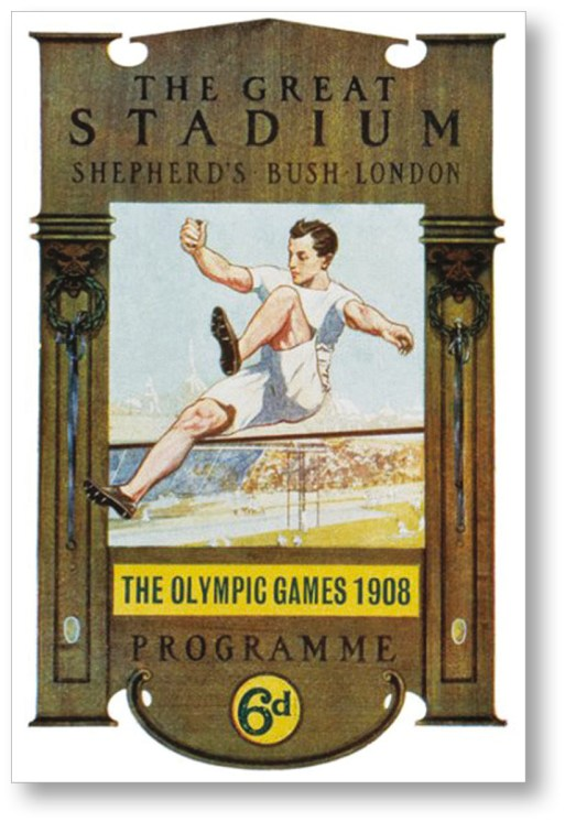 RIGHT Cover of a programme from the 1908 Olympic Games in London. It was here that Halswelle secured gold, albeit in controversial circumstances.