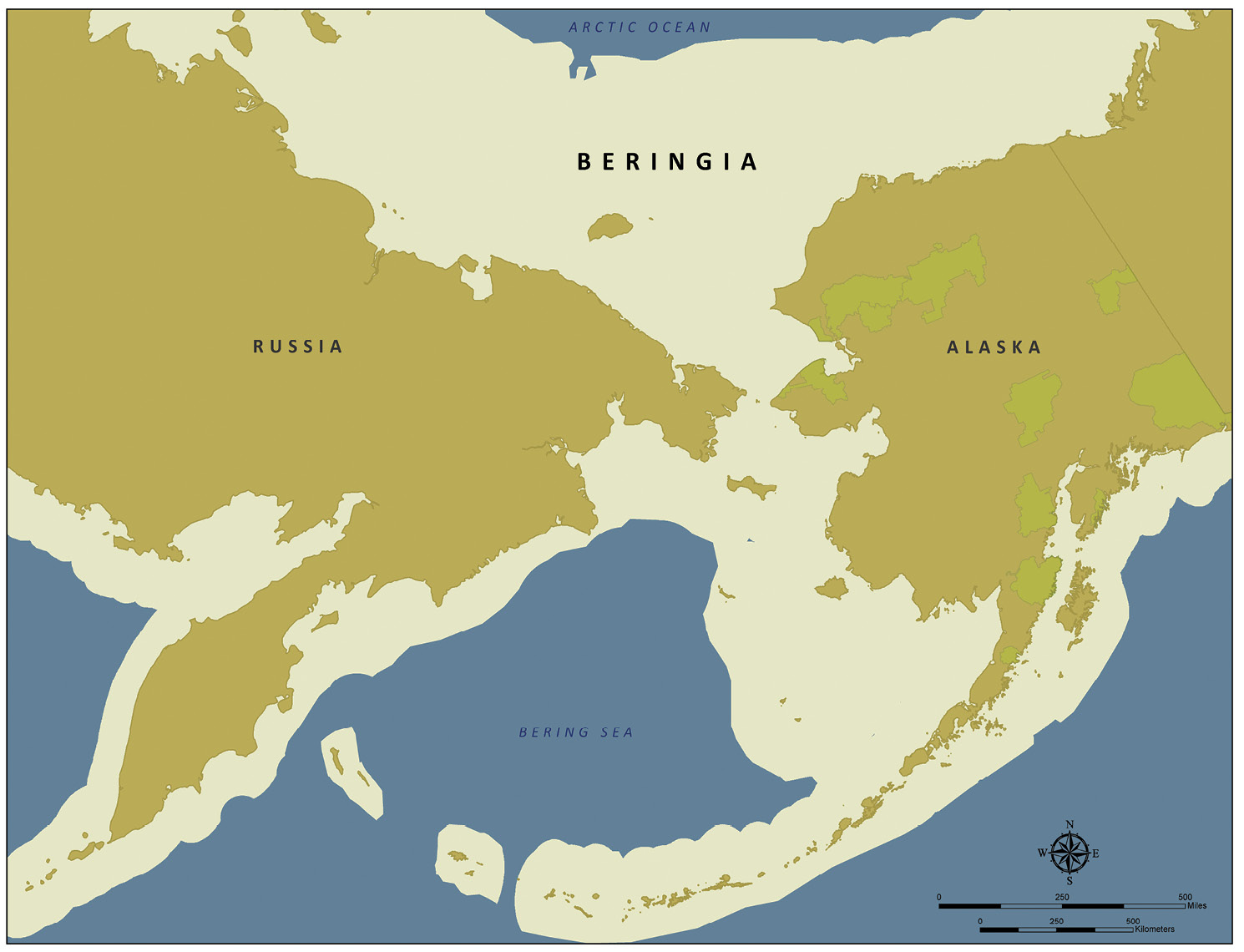 LEFT The extent of Beringia about 12,000 years ago, with modern coastlines superimposed, showing the land bridge that
