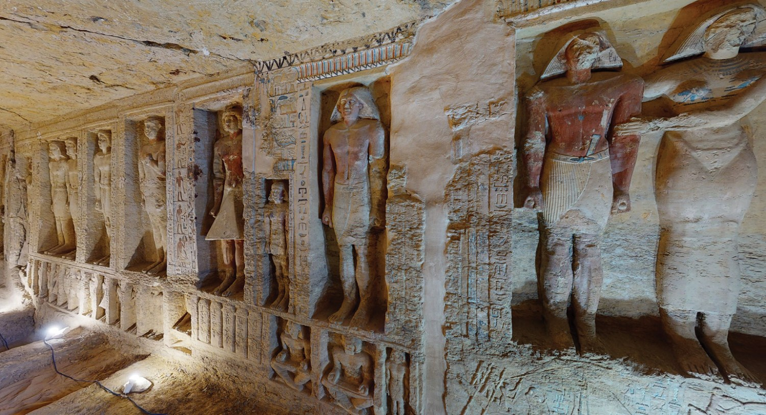 The 3D model allows you to examine the detailed carvings and statues that line the walls of the tomb.