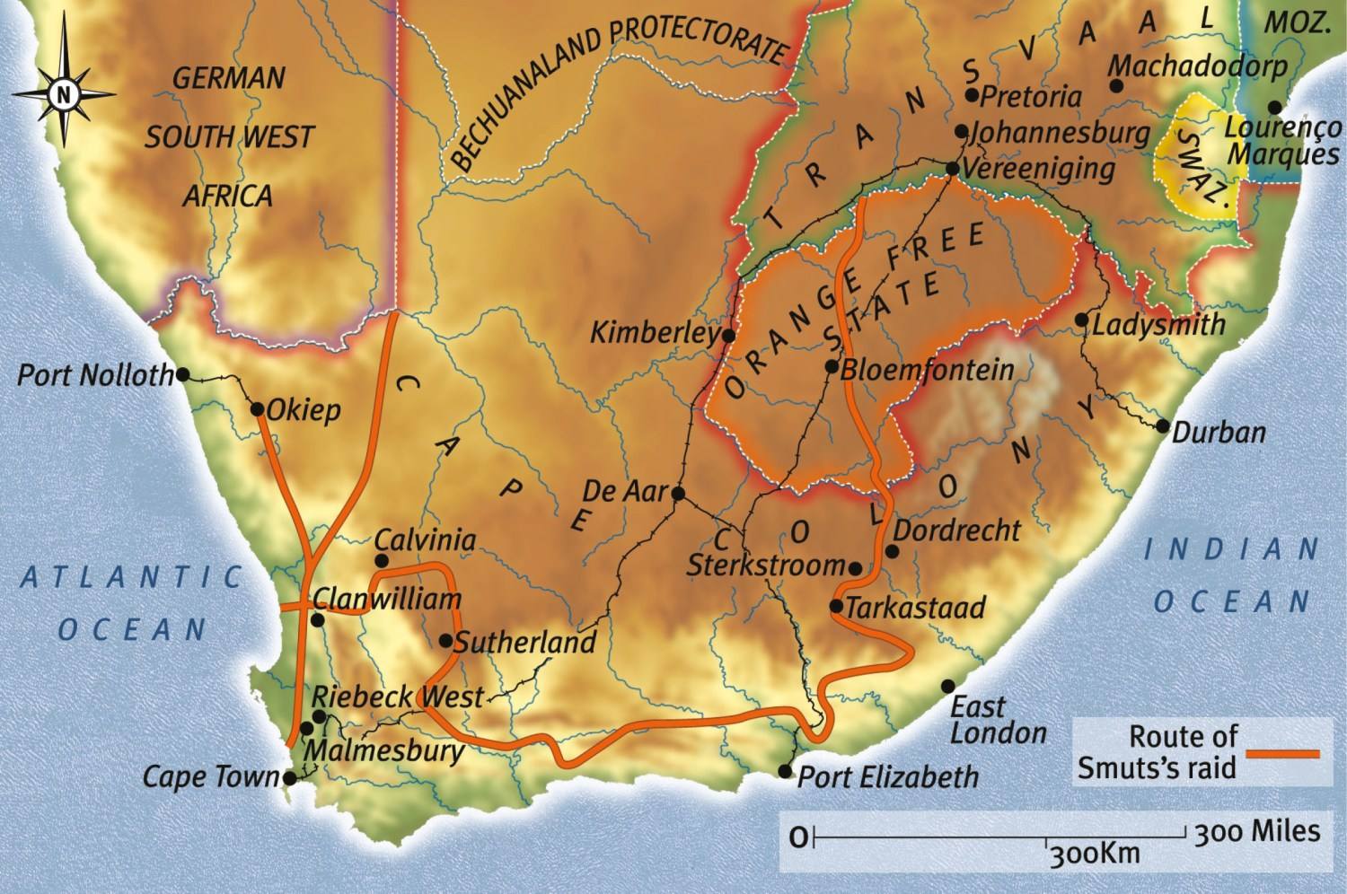 ABOVE Map of Smuts' raid across Cape Colony one of the boldest and most ambitious campaigns of the Boer guerrilla campaign.