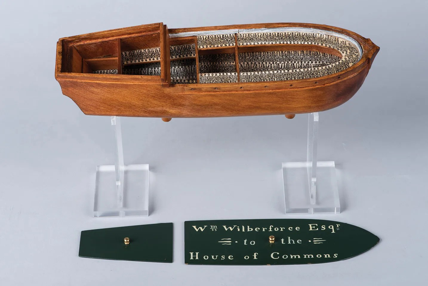 RIGHT A reproduction of the Brookes, a slave ship that became infamous when the prints of her layout were published in 1788, highlighting the horrendous conditions slaves suffered on board. Two models of the ship were commissioned by the famous abolitionist Thomas Clarkson: one was given to Comte de Mirabeau, a French statesman, and the other to William Wilberforce MP, who used the model during his anti-slavery speeches in Parliament.