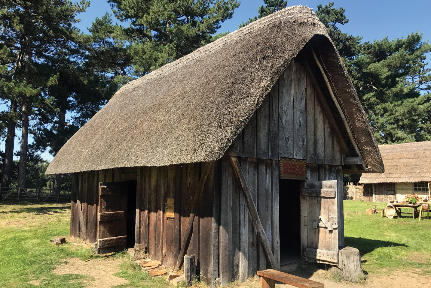 below A reconstructed house at West Stow Anglo-Saxon Village, Suffolk.