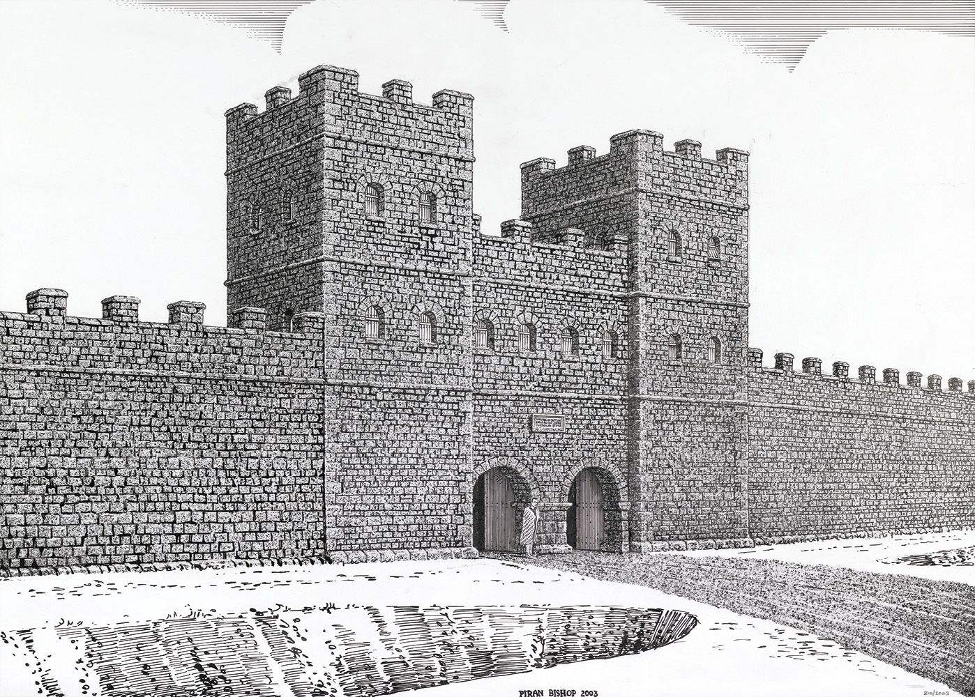 Elements of the Roman town: TOP Reconstruction of the settlement's South Gate, as envisaged by Christopher Henderson and drawn by Piran Bishop. ABOVE The steps at the south-east end of the forum portico leading into the basilica, with a column-base and gutter block visible to the left. A near-white and dull pink sandstone were used for the steps, with contrasting colours for decorative effect. The lowest step rests on the hypocaust basement of the underlying fortress baths.