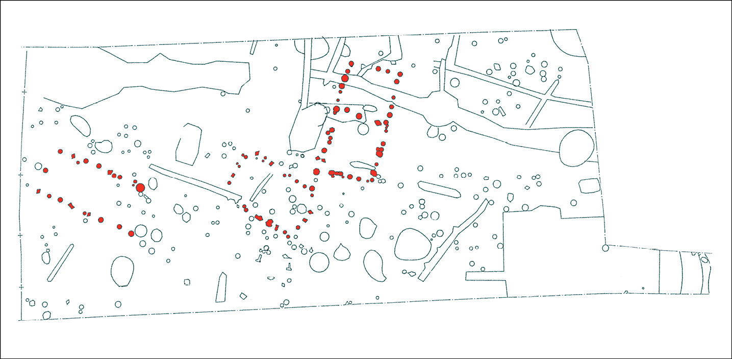 left Early Saxon to Middle Saxon settlement excavated at Willingham, Cambridgeshire in 1997, with post-built buildings highlighted in red.