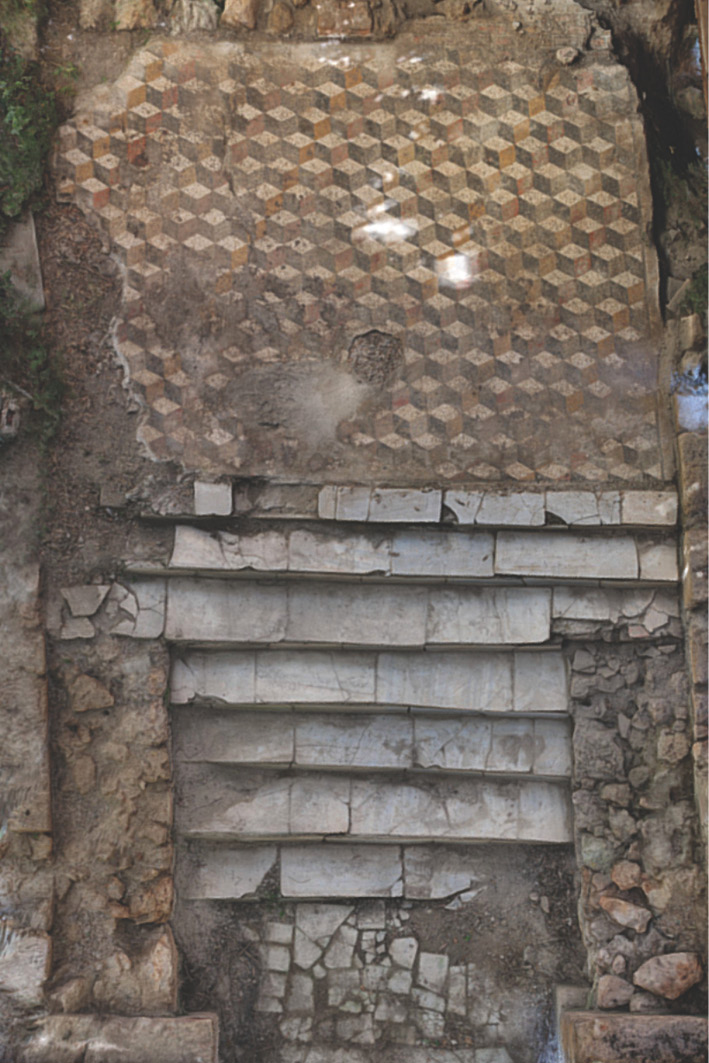 ABOVE The entrance to the Caddeddi villa (1), with white marble steps leading to a lozenge-patterned mosaic floor. It is the only use of marble known in the villa. BELOW Part of the early modern farm which overlies much of the Roman villa. Underneath the archway on the right, the apsed room 6 at the centre of the south