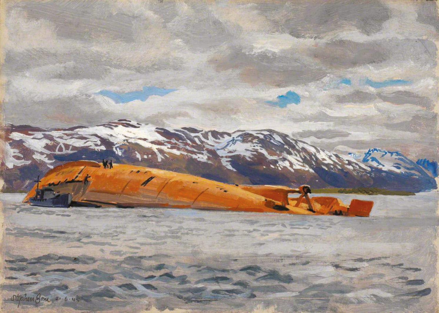 LEFT The Wreck of the 'Tirpitz', detail from a painting by Stephen Bone (June 1945). ABOVE RAF Wing Commander Willie Tait (on the left) standing with an unknown Australian officer on the wreck of Tirpitz in late 1945.