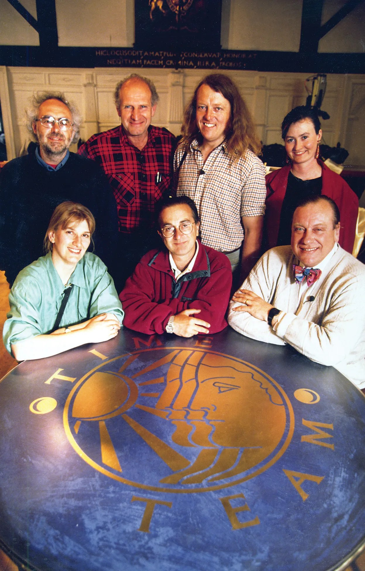 above The beginning of Time Team: season 1 stalwarts (from left to right) Mick Aston, Victor Ambrus, Phil Harding, Geraldine Barber, Carenza Lewis, Tony Robinson, and Robin Bush.