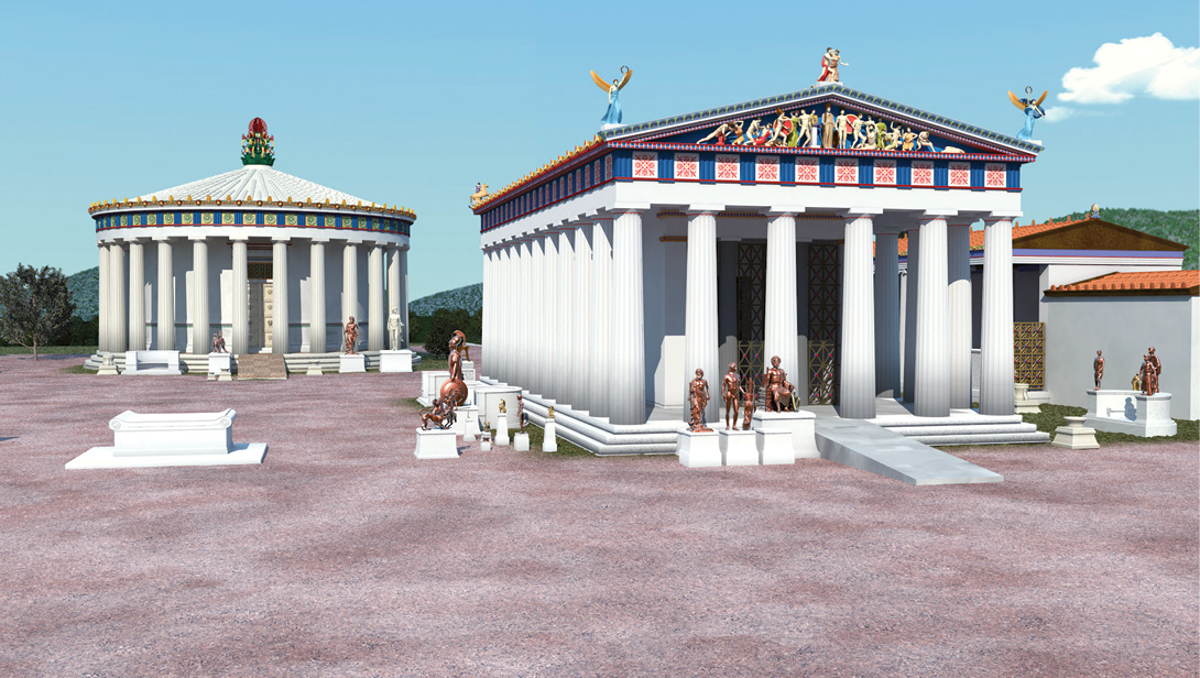 BELOW A reconstruction of the 4th-century Temple of Asclepius at Epidaurus.