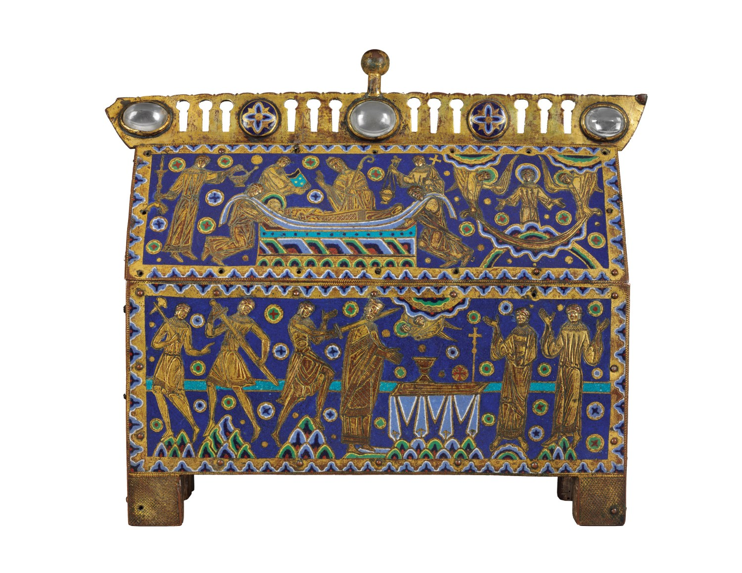 ABOVE The Becket Casket, an enamelled reliquary casket showing the murder of Thomas Becket, from Limoges, France, c.1180-1190. Size: 29.5 x 34.4 x