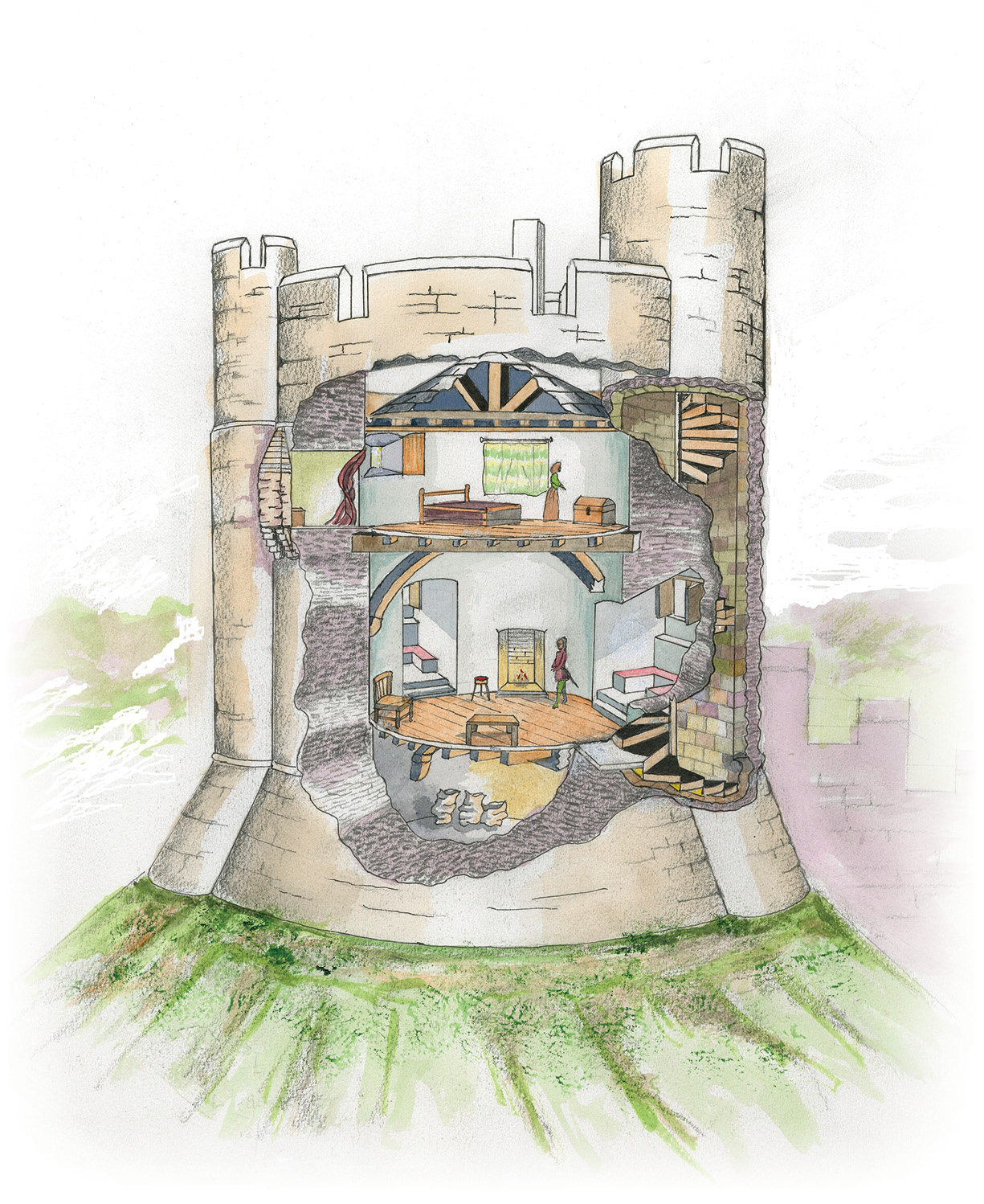 left & below A section through the Longtown Castle keep, with a plan of the principal room and a cutaway reconstruction of the keep viewed from the south-west.