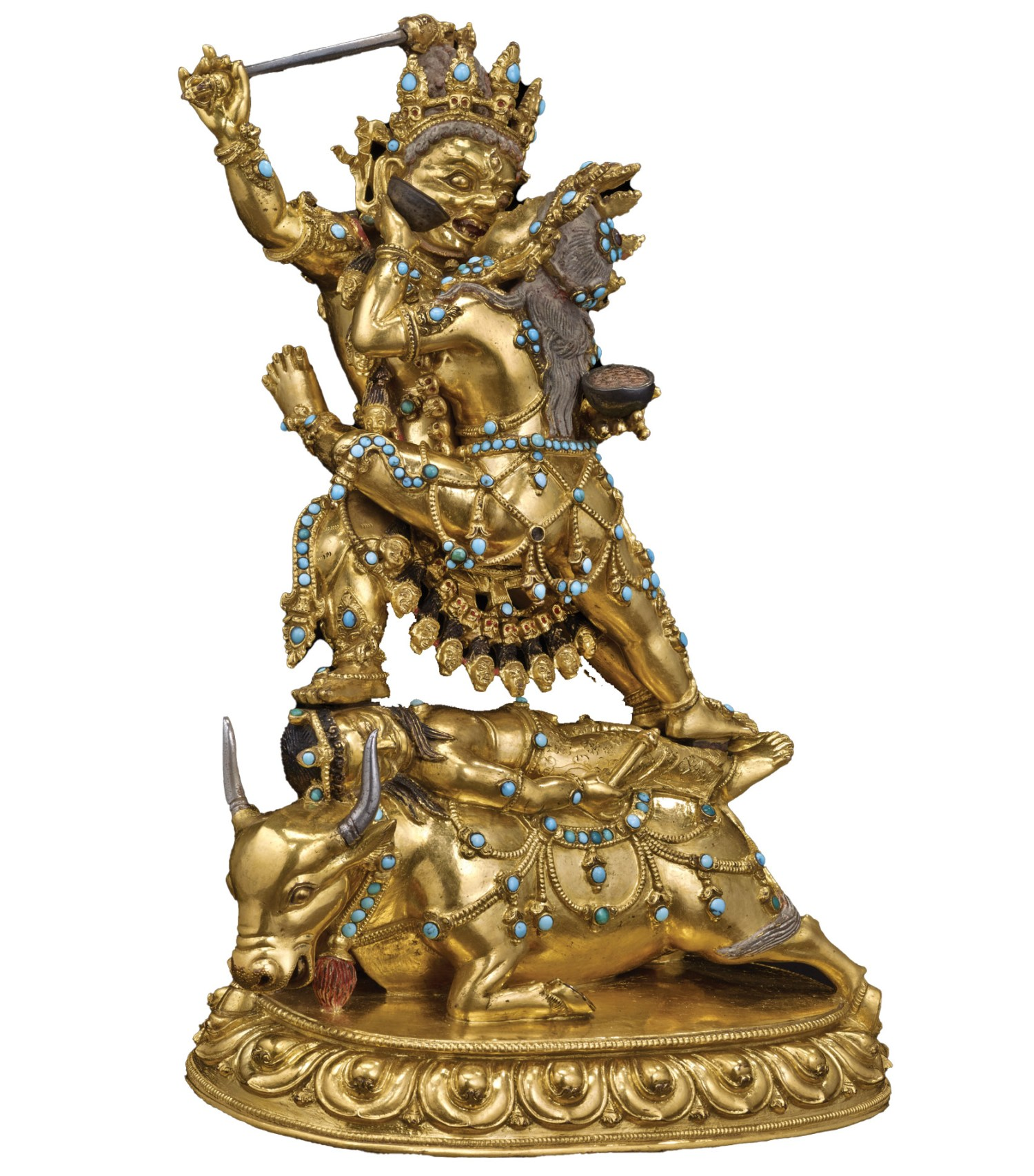 ABOVE Sculpture of Raktayamari in union with Vajravetali, Tibet, 16th-17th century. Bronze with turquoise, gold, and pigment. Size: 21.8 x 15.8 x 11.4cm