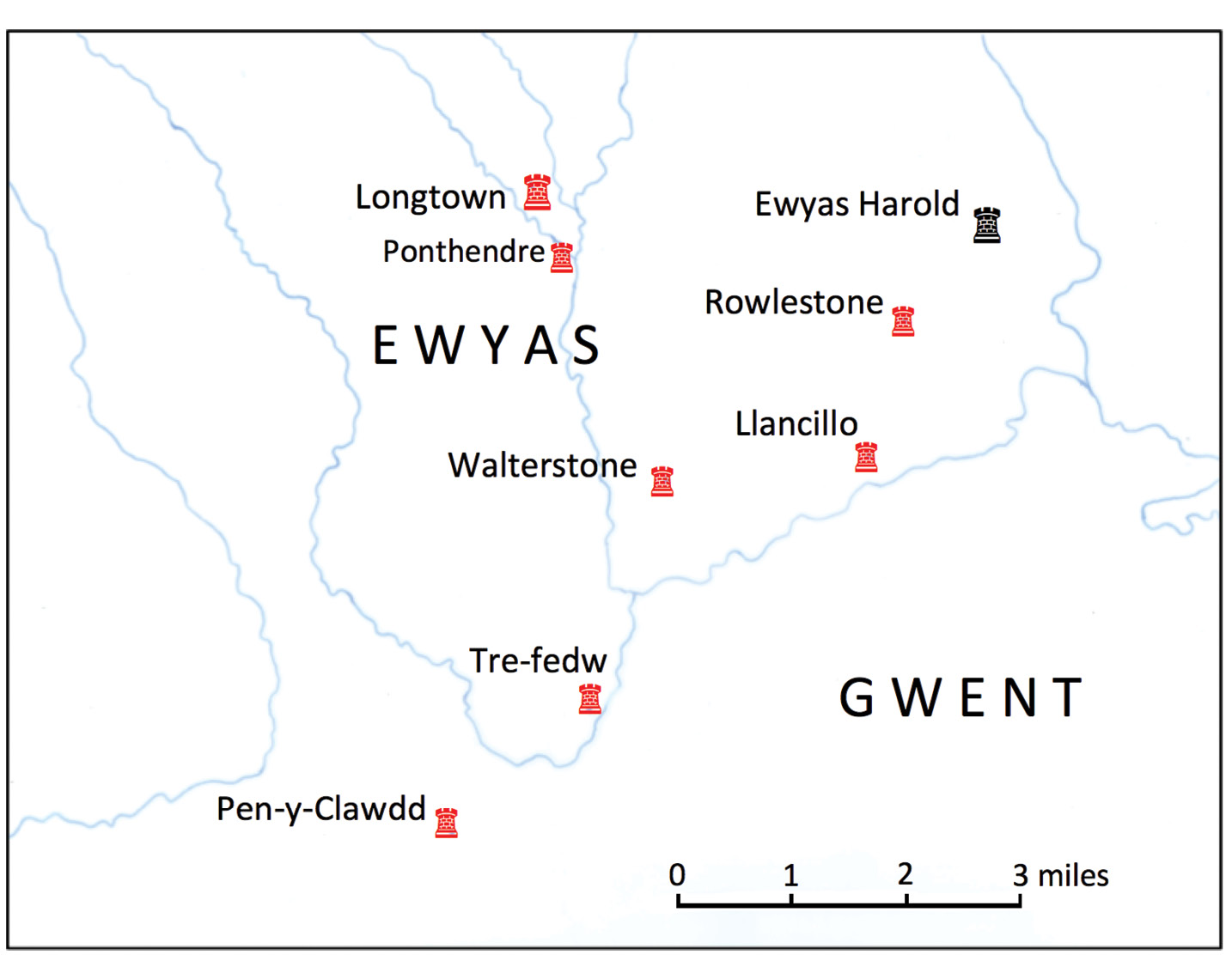 above Bordering the ancient Kingdom of Gwent, the March of Ewyas is located at the southern end of a series of deep valleys whose streams and brooks feed into the Usk, Monnow, and Wye. One interpretation of the name Ewyas is 'land of streams', but other suggestions, all equally appropriate, include 'land of battles', 'ewes', 'yews', or 'hind' (female red deer).